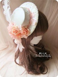Sweetheart Små kremmere Square ♥ ♥ Rococo-dimensjonale håndlagde blondere bow vinden Hanayome Toppet hat lolita-Taobao
