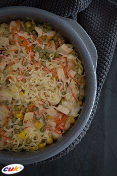 Receta de Noodles cremosos con Pollo CUK Grains, Rice, Food, Chicken Recipes, Noodles, Eten, Seeds, Meals, Korn