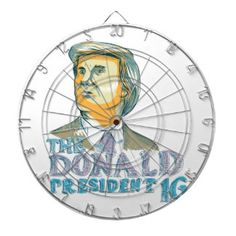 Trump President 2016 Drawing Dart Boards. Drawing sketch style illustration showing American real estate magnate, television personality, politician and Republican 2016 presidential candidate Donald John Trump with words The Donald President 2016. #Trump2016 #republican #americanelections #elections #vote2016 #election2016