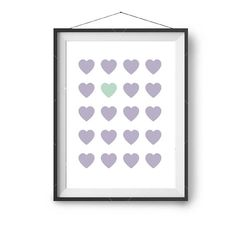 Nursery Print, Lavender Purple & Mint Art, Love Heart Poster, Large Nursery Art, Abstract Wall Print, Purple Decor, Cute Printable Art
