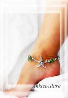Chic Beach Feet Starfish Anklet Cruise Vacation by AnkletAllure Silver Ankle Bracelet, Ankle Jewelry, Anklet Bracelet, Silver Bracelets, Starfish Bracelet, Beach Jewelry, Boho Jewelry, Jewelry Design, Jewellery