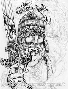 "DANIELE DE CRESCENZO: SKETCHBOOK  ""Northmen Warrior"" unfinished sketch."