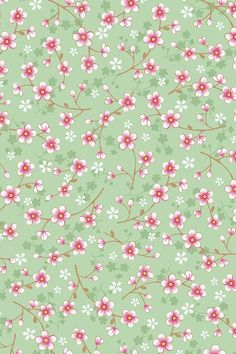 PiP Cherry Blossom Green wallpaper