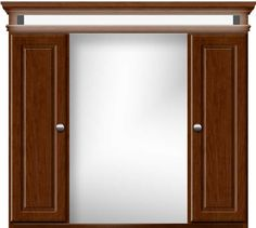 """36"""" wide Two-Door Ultraline chocolate cherry medicine cabinet with LED lighting. 35"""" tall, 7½"""" wall-to-front of curved shelf. Crown adds 2"""" to width."""