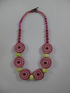 Pink+and+acid+yellow+felt+and+bead+necklace+by+TuppenceDesigns