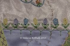 Stitch #74, Cretan Stitch + Silk Ribbon Lazy Daisies in 3 different colors + Lazy Daisy Leaves ©Valerie Bothell 2015