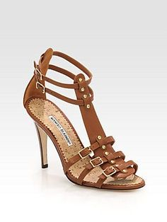 Manolo Blahnik Axez Leather Gladiator Sandals