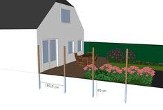 Tuinschermen plaatsen?Plaats de palen nauwkeurig ruim 180 cm uitelkaar. Monteer met 6 L-vormige verbindingshoekjes.