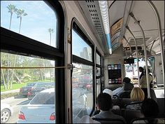Riding the bus in Los Angeles from Santa Monica.