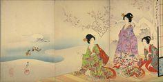 園中の雪 3枚組  (1440×728)