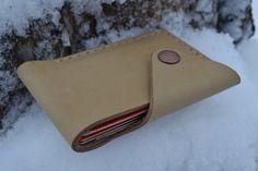 Leather Wallet-Men Wallet-Leather Card Holder Leather-Handmade Ivory color. $28,00, via Etsy.