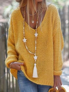 Regular Long Sleeve V-Neck Sweater Loose Knit Sweaters, Ribbed Sweater, Sweater Cardigan, Sweater Shop, Shirt Shop, Long Sleeve Sweater, Types Of Sleeves, Sweaters For Women, Knitting