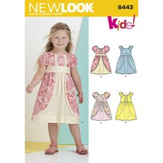 New Look Pattern 6443 Child's Dress with Fabric and Trim Variations