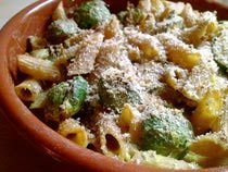 Brussels Sprouts Pasta. Very good. Double the brussels sprouts and add some extra olive oil.