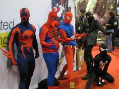 Spider-man 2099, Spider-Ham, Scarlet Spider, Spider-man Noir, and Black Suit Spider-man, photo by Master Magnius.