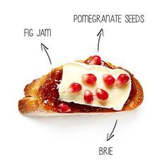 Fig Jam, Brie and Pomegranate Seeds Crostini #BiteMeMore