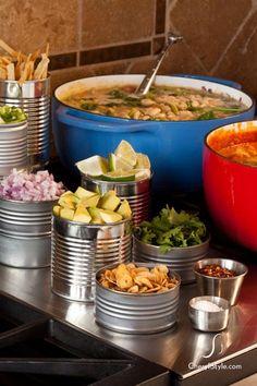 Self-serve chili bar - Everyday Dishes & DIY Chili Bar Party, Bbq Party, Redneck Party, Redneck Birthday, Redneck Games, Hillbilly Party, 40th Birthday, Woodland Party, White Trash Party