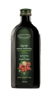 Syrop Różano - Malinowy. Rose Syrup. Idealne połączenie owoców róży i malin, o pięknym zapachu, wyrafinowanym smaku i głębokiej barwie. Polecany po rozcieńczeniu jako napój, jak również sos do sałatek owocowych, deserów i wypieków. Ma również właściwości rozgrzewające, doceniane przy przeziębieniach. Opakowanie: Butelka ciemna 250 ml Cena: 8,00 zł #Rose #Raspberry #Syrup #Roza #Malina #Syrop