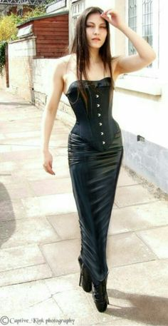 Girl in a Corset, latex hobble skirt and ballet boots