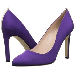 SJP by Sarah Jessica Parker Lady (Purple) Women's Shoes (€110) ❤ liked on Polyvore featuring shoes, pumps, heels, purple, purple heel shoes, pointy toe pumps, purple shoes, slip-on shoes and purple high heel pumps