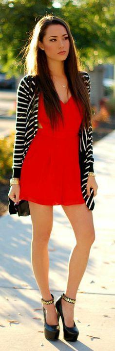 Little Red Dress Top Stripes Sweater & Black Bag Aand Shoes - Best street fashion inspiration & looks