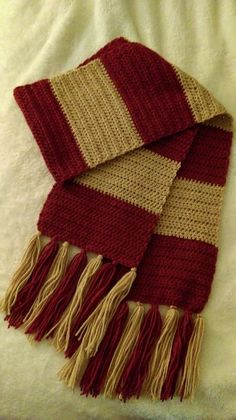 First Years Harry Potter Scarf - free crochet pattern by Knotted Mom. Hdc scarf.                                                                                                                                                                                 More
