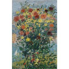 Michele Cascella - Flowers in Portofino, oil on canvas