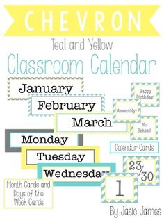 Use this cute and bright teal, yellow, and grey chevron classroom calendar product to boost your calendar game. Includes:Month CardsDays of the Week CardsCalendar Number CardsWeather PosterWeather CardsThermometerSeason PosterDays in School: Ones, Tens, HundredsWritten Date PosterToday, Yesterday, Tomorrow Posters (use days of the week with this)