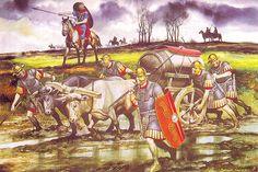 """""""Legionarios en Britannia, s. I dC"""", Ronald Embleton.- ANNEE 54 av JC: Bretons, Eburons et Trévires, 2) 2° EXPEDITION en BRETAGNE, 1: Une fois l'ordre restauré, César laisse à TITUS LABIENNUS le commandement de 3 légions et 2000 cavaliers pour surveiller la Gaule, protéger les ports et le pourvoir en vivres. César s'embarque avec 5 légions et 2000 cavaliers et débarque en Bretagne sans trouver de résistance."""