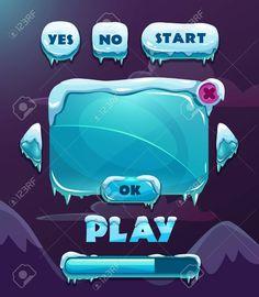 漫画ベクトル氷冬ゲームのユーザー インターフェイス 写真素材 - 48171336