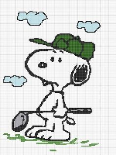 SNOOPY GOLF CROCHET PATTERN AFGHAN GRAPH E-MAILED.PDF #318