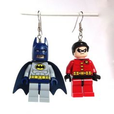 """Holy Cow Batman! With, the Dynamic Duo so close by, how could one go wrong?!  These Minifigures come directly from the LEGO Super Heroes collection.    These earrings are very light weight and comfortable to wear. These are made with hypoallergenic surgical steel and are very comfortable to wear.  All parts are securely attached, and the approximate measurements are 1.75"""" x 1"""" Fun and Function is such a nice combo!  Enjoy!  Val      This item is intended for decorative purposes and is not a…"""