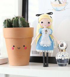 Alice in Wonderland Felt Art Doll with Key, 18cm Fairytale Doll, Fantasy…