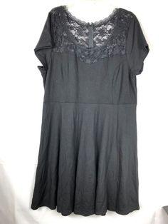 25afe93d570c TORRID Women's Mesh Illusion Swing Dress size 24 Black Lace Short Sleeve 55  #Torrid #RetroChicFitFlareDress #Versitile