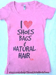 I heart shoe bags & natural hair scoop by ThreeLittleBirdsTees, $19.95