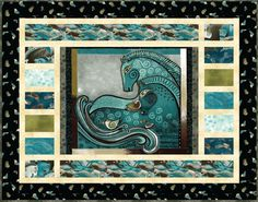 Embracing Horses Teal Quilt Wallhanging Kit Laurel Burch Fabric Pattern   eBay