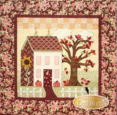 Little Garden House in Autumn: Little Garden House in Autumn is a sweet 41 x 41 wallhanging designed by Shabby Fabrics. This is the 3rd in a series of 4 seasonal patterns. Collect all four to enjoy throughout the year!This quilt is quick and easy fusible applique. Little Garden House in Spring, Summer and Winter also available.