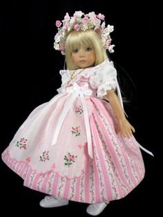 """Dress, Hankie apron fits Effner 13, Little Darling, Betsy McCall. 13"""", 14"""" doll."""