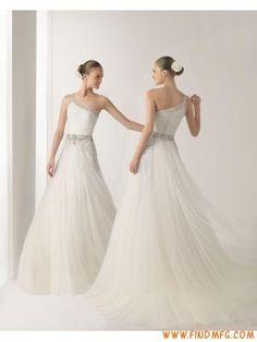 Glamorous um ombro frisado uma linha de vestido de noiva chi...