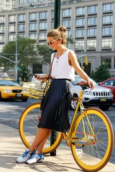 love the outfit. the skirt is long enough to bike in, and the shirt looks nice enough to wear to work.