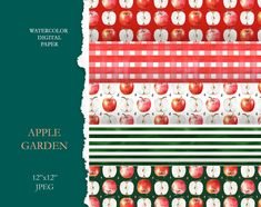 Apples and stripes digital paper. by KoelschArtLab on Etsy Digital Scrapbook Paper, Textile Prints, Home Textile, Party Printables, Floral Watercolor, Planner Stickers, Apples, Print Patterns, Pattern Design