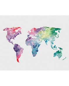 World Map 1 Watercolor Art