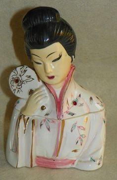"LOVELY 7 1/4"" T. ORIENTAL DRESSER DOLL/ POWDER BOX - JAPAN - HALF DOLL RELATED"