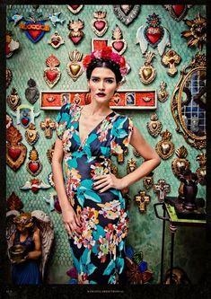 I want to do an Ex Voto wall like this. ❀ Flower Maiden Fantasy ❀ beautiful art & fashion photography of women and flowers - Lena Hoschek – Viva México Foto Fashion, Fashion Week, Fashion Art, Fashion Design, Vogue Fashion, Street Fashion, Fashion Trends, Photography Women, Editorial Photography