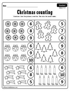 Free Christmas counting worksheets for preschool - counting numbers and Perfect for December math centers! Christmas Worksheets Kindergarten, Preschool Number Worksheets, Preschool Christmas Crafts, Sight Word Worksheets, Free Preschool, Worksheets For Kids, English Lessons For Kids, Math Numbers, Thing 1