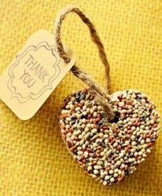 Show love for the birdies with this homemade wedding favor. Cute idea for an outdoor wedding in the redwoods :-).