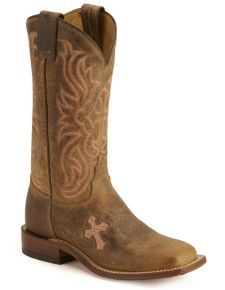 Tony Lama Cross Inlay Cowgirl Boots - Square Toe Pink Boots c48b5f091