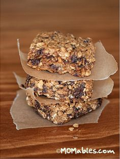 "This will be perfect for ""snack time"" at school! Homemade Granola Bars. I'm making them right now! M.C."