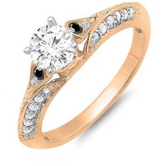 Ice 6/7 CT TW Diamond 14K Rose Gold Engagement Ring with Black Diamond Accents