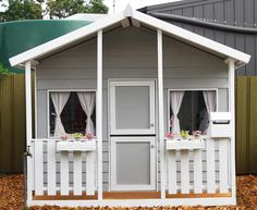 Painted Cubby House from Aarons Outdoor Living Kids Cubby Houses, Kids Cubbies, Play Houses, Diy Playhouse, Playhouse Outdoor, Wooden Playhouse, Outdoor Play, Wendy House, House Doors